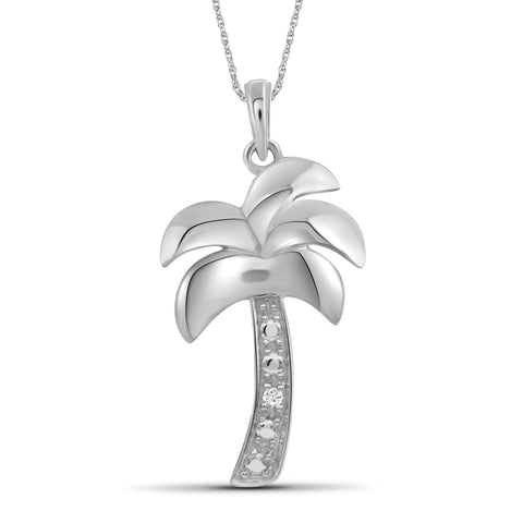 JewelonFire Accent White Diamond Sterling Silver Palm Tree Pendant - Assorted Colors