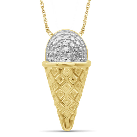 JewelonFire Accent White Diamond 14K Gold over Silver Ice-Cream Pendant
