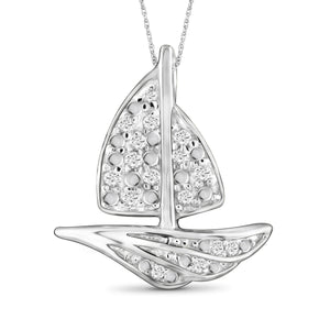 JewelonFire 1/10 Carat T.W. White Diamond Sterling Silver Boat Pendant - Assorted Colors