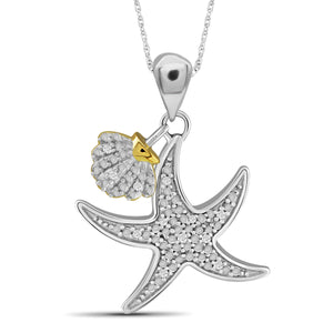 JewelonFire 1/20 Carat T.W. White Diamond Two Tone Sterling Silver Star Fish Pendant