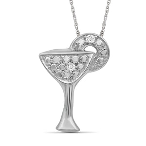 JewelonFire 1/20 Carat T.W. White Diamond Sterling Silver Martini Glass Pendant - Assorted Colors