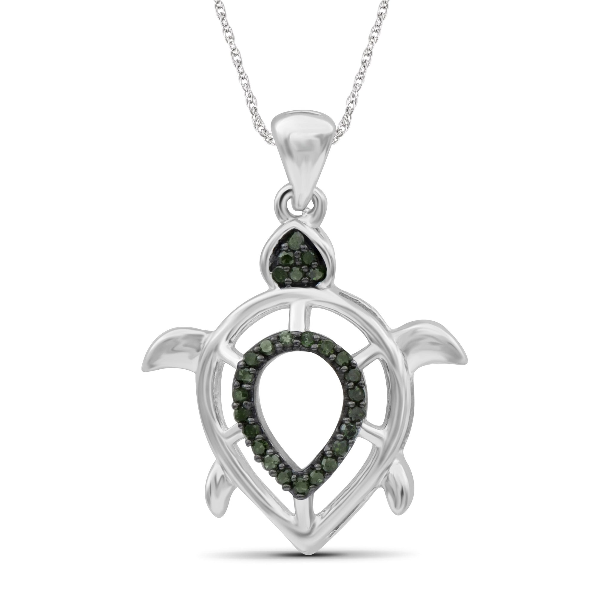 JewelersClub 1/10 Ctw Green Diamond Sterling Silver Turtle Pendant