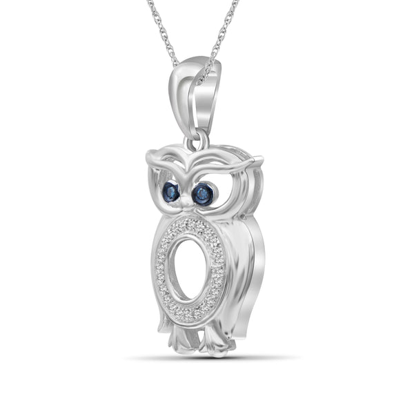 JewelersClub 1/10 Ctw Blue & White Diamond Sterling Silver Owl Pendant