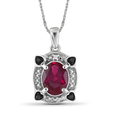 JewelonFire 2.50 Carat T.G.W. Ruby And 1/20 Carat T.W. Black & White Diamond Sterling Silver Pendant - Assorted Colors