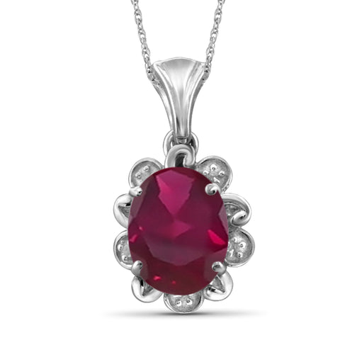 JewelonFire 2.50 Carat T.G.W. Ruby And Accent White Diamond Sterling Silver Pendant - Assorted Colors