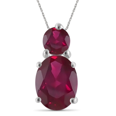 JewelonFire 2.25 Carat T.G.W. Genuine Ruby Sterling Silver Pendant - Assorted Colors