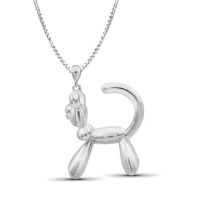 JewelonFire Sterling Silver Cat Metal Pendant - Assorted Color