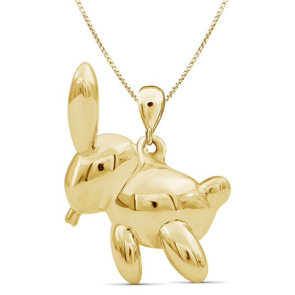 JewelonFire Sterling Silver Rabbit Metal Pendant - Assorted Color