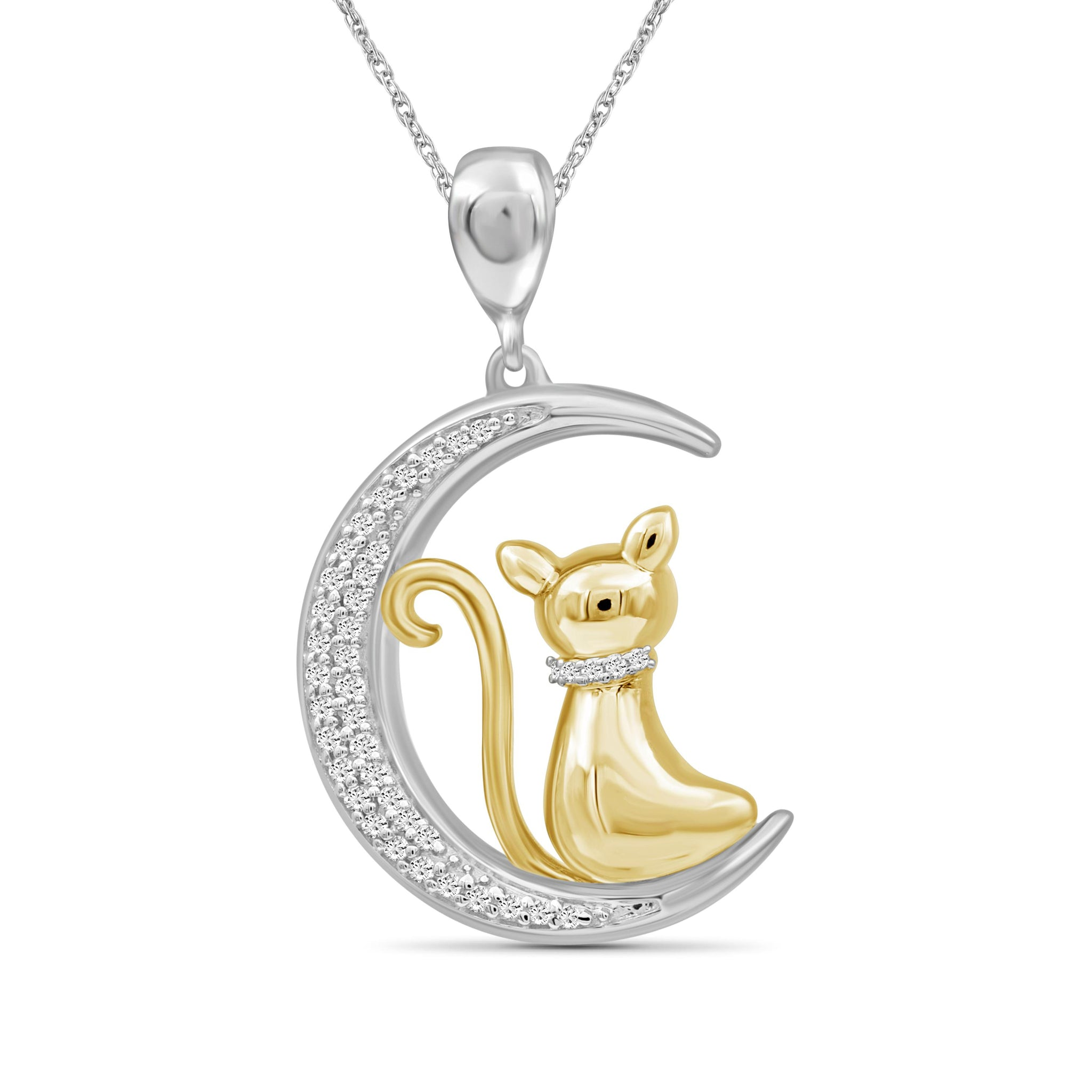 JewelonFire 1/7 Ctw White Diamond Two-Tone Sterling Silver Cat Moon Pendant
