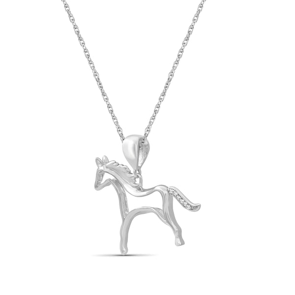 JewelonFire Accent White Diamond Sterling Silver Horse Pendant