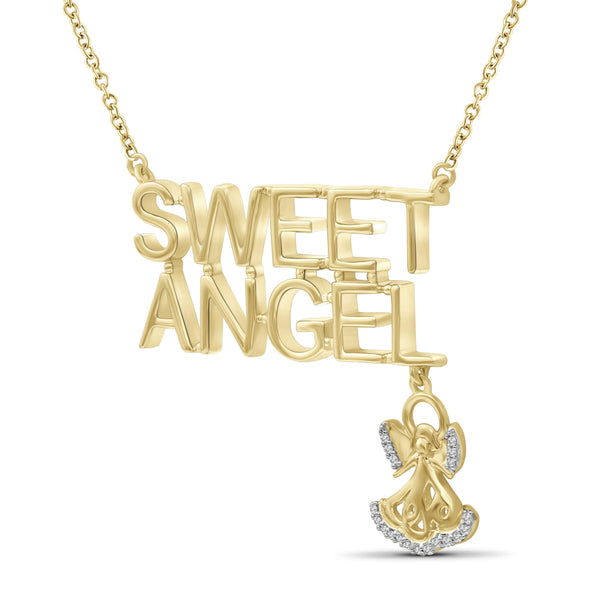 "JewelersClub 1/20 Ctw White Diamond ""Sweet Angel"" Necklace in 14kt Gold over Silver"