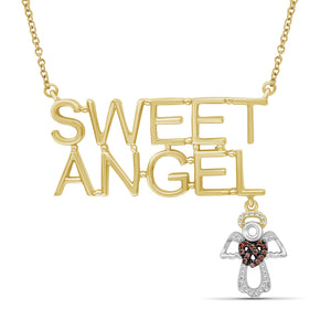 "JewelersClub 1/10 Ctw Red & White Diamond ""Sweet Angel"" Necklace in Two-Tone Sterling Silver"