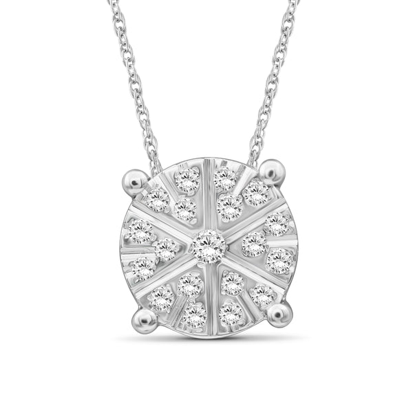 JewelonFire 1/10 Carat T.W. White Diamond Sterling Silver Flower Pendant - Assorted Colors