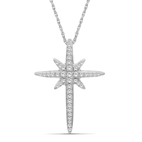 JewelersClub 1/5 Carat T.W. White Diamond Sterling Silver Cross Pendant - Assorted Colors
