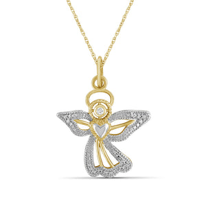 JewelersClub Accent White Diamond Angel Pendant in Two Tone Sterling Silver
