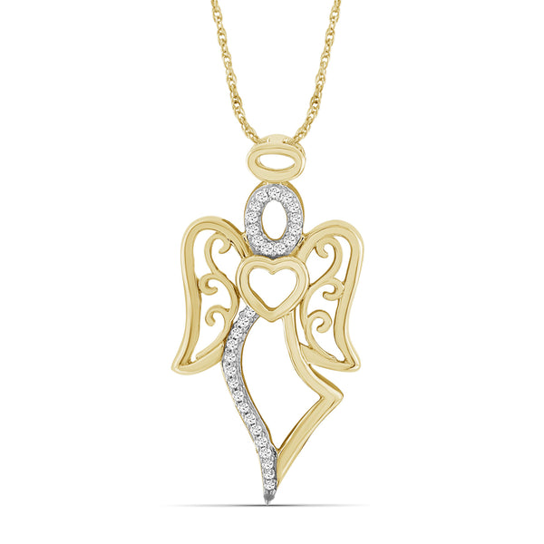 JewelonFire 1/5 Ctw White Diamond Angel Pendant in Sterling Silver - Assorted Finish