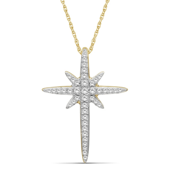 JewelonFire 1/5 Carat T.W. White Diamond Sterling Silver Cross Pendant - Assorted Colors