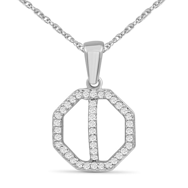 JewelonFire 1/10 Carat T.W. White Diamond Sterling Silver Cross Octagon Pendant - Assorted Colors