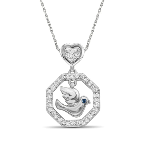 JewlersClub 1/7 Carat T.W. Blue And White Diamond Sterling Silver Flying Bird Octagon Pendant  - Assorted Colors