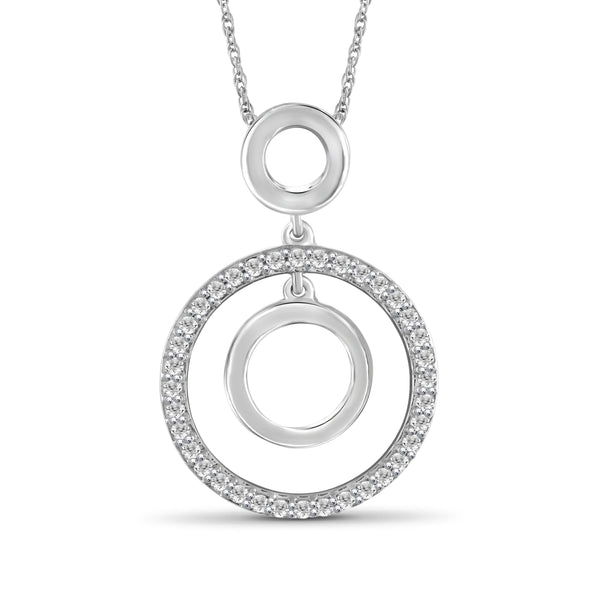 JewelonFire 1/4 Ctw White Diamond Sterling Silver Circle Pendant - Assorted Colors