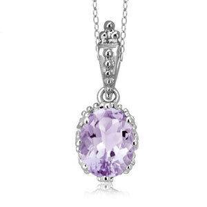 JewelersClub 1.60 Carat T.G.W. Pink Amethyst Sterling Silver Pendant - Assorted Colors