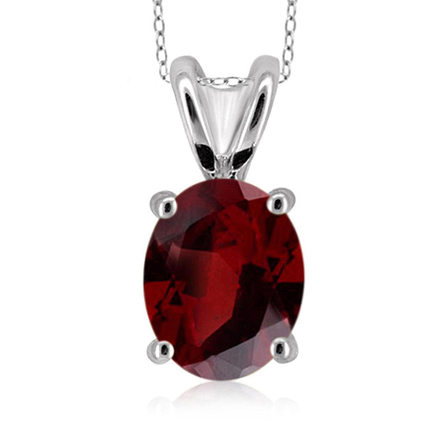 JewelonFire 2.15 Carat T.G.W. Garnet Sterling Silver Pendant - Assorted Colors