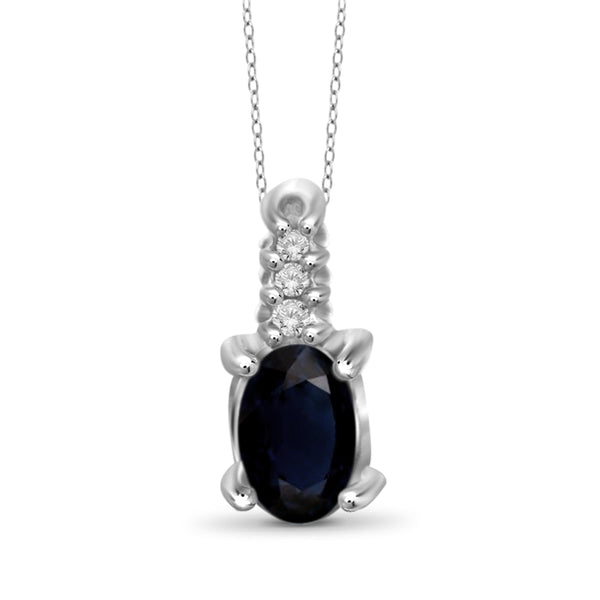 JewelonFire 0.30 Carat T.G.W. Sapphire and White Diamond Accent Sterling Silver Pendant