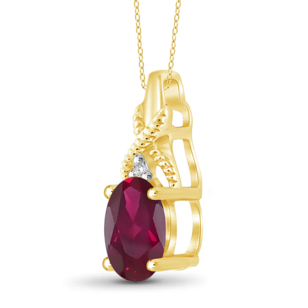 JewelonFire 0.90 Carat T.G.W. Ruby and White Diamond Accent Sterling Silver Pendant - Assorted Colors