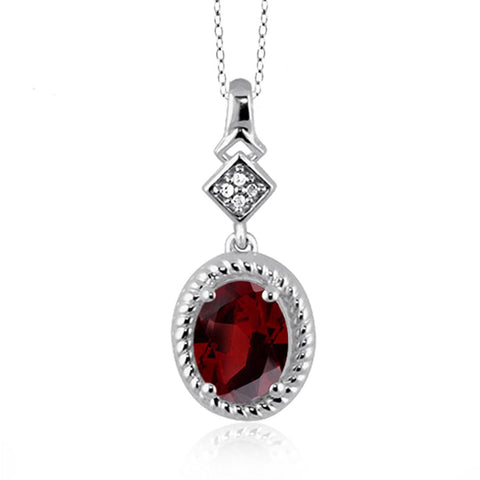 JewelonFire 1 1/2 Carat T.G.W. Garnet And White Diamond Accent Sterling Silver Pendant - Assorted Colors