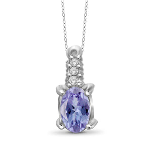 JewelonFire 0.20 Carat T.G.W. Tanzanite and White Diamond Accent Sterling Silver Pendant