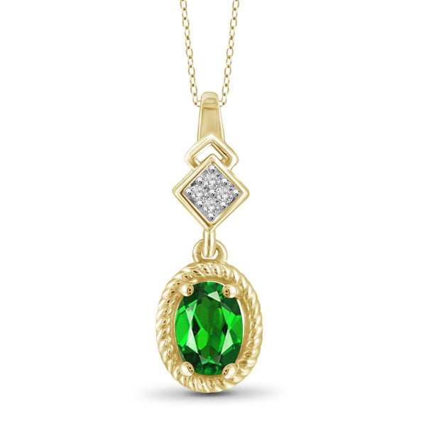JewelersClub 1.20 Carat T.G.W. Chrome Diopside and White Diamond Accent Sterling Silver Pendant - Assorted Colors