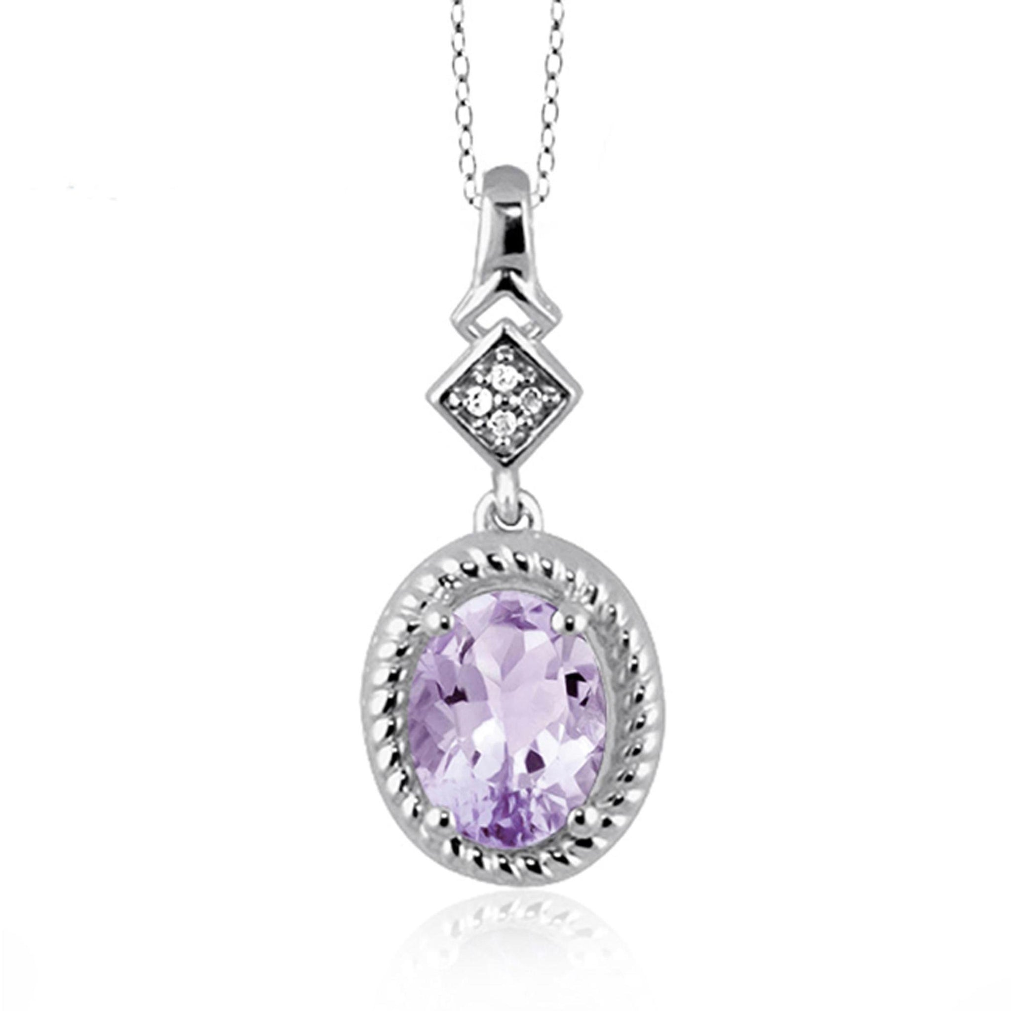 JewelonFire 1.00 Carat T.G.W. Pink Amethyst And White Diamond Accent Sterling Silver Pendant - Assorted Colors