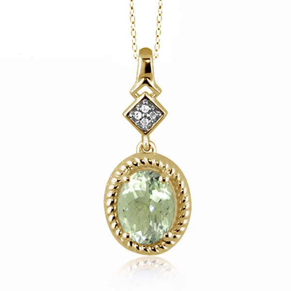 JewelonFire 1 1/3 Carat T.G.W. Green Amethyst And White Diamond Accent Sterling Silver Pendant - Assorted Colors