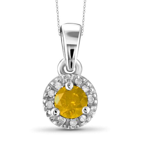 JewelonFire 1/4 Carat T.W. Yellow And White Diamond Sterling Silver Halo Pendant