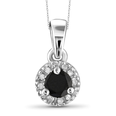 JewelonFire 1/4 Carat T.W. Black And White Diamond Sterling Silver Halo Pendant