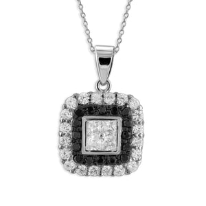 Black And White Cubic Zirconia Hip to Be Square Necklace in Sterling Silver