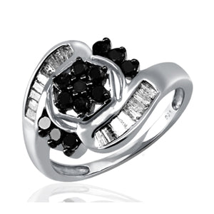 JewelonFire 1 Carat T.W. Black And White Diamond Sterling Silver Ring