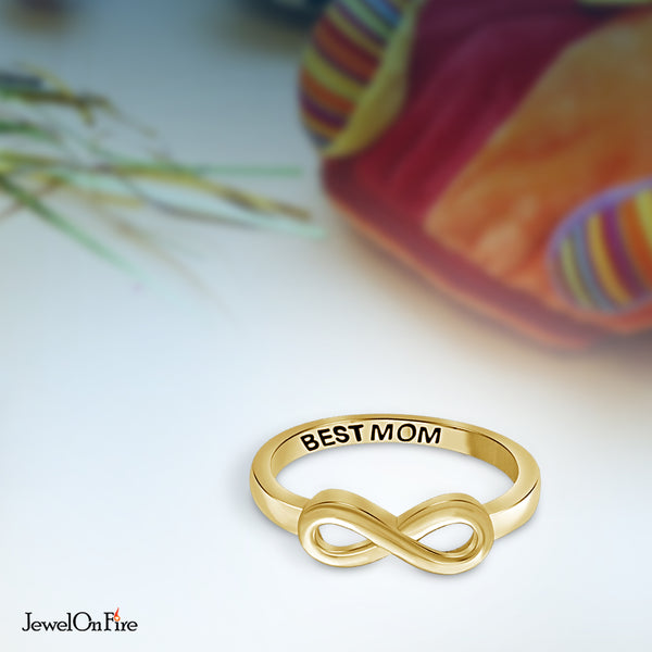 JewelonFire Sterling Silver Infinity Friendship Ring for Women | Personalized Best Mom Promise Eternity Knot Symbol Band