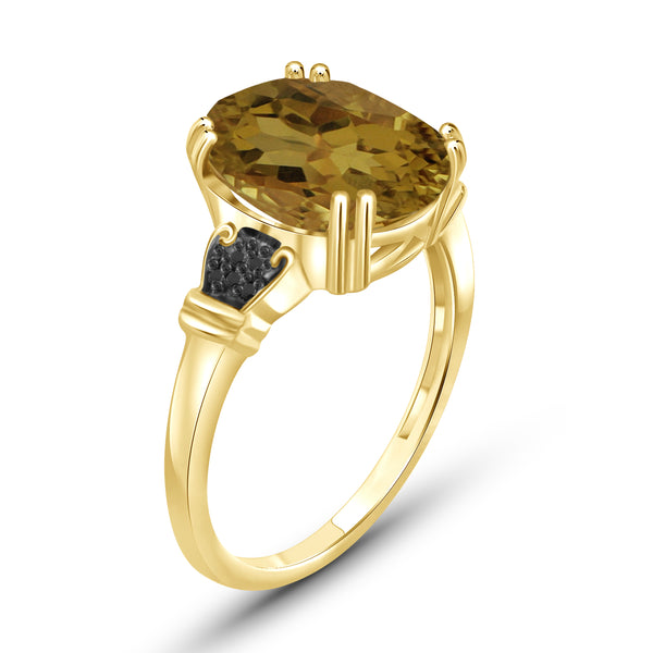 JewelonFire 1 1/2 Carat T.G.W. Whiskey And Black Diamond Accent 14kt Gold Over Silver Fashion Ring