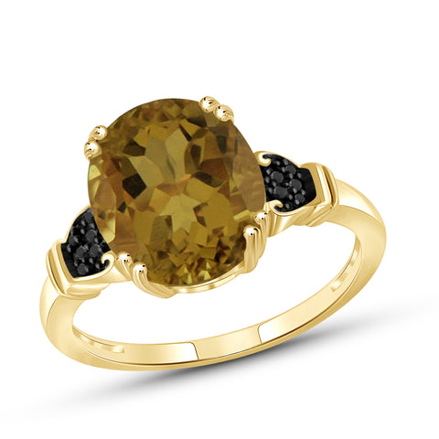 JewelersClub 1 1/2 Carat T.G.W. Whiskey And Black Diamond Accent 14kt Gold Over Silver Fashion Ring