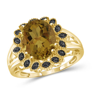 JewelonFire 1 1/2 Carat T.G.W. Whiskey And Black Diamond Accent 14kt Gold Over Silver Flower Ring