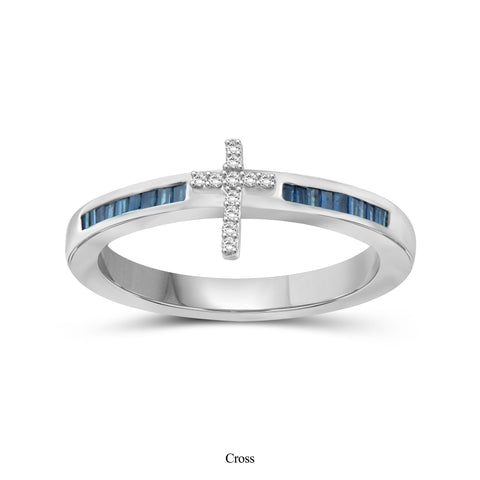 JewelonFire 1/4 Carat T.W. Blue And White Diamond Sterling Silver Cross Ring