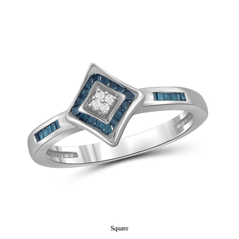 JewelonFire 1/5 Carat T.W. Blue And White Diamond Sterling Silver Ring