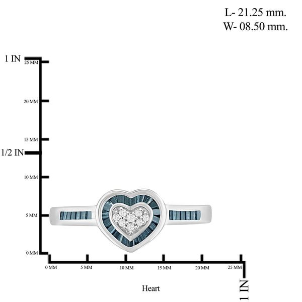 JewelonFire 1/4 Carat T.W. Blue And White Diamond Sterling Silver Heart Ring