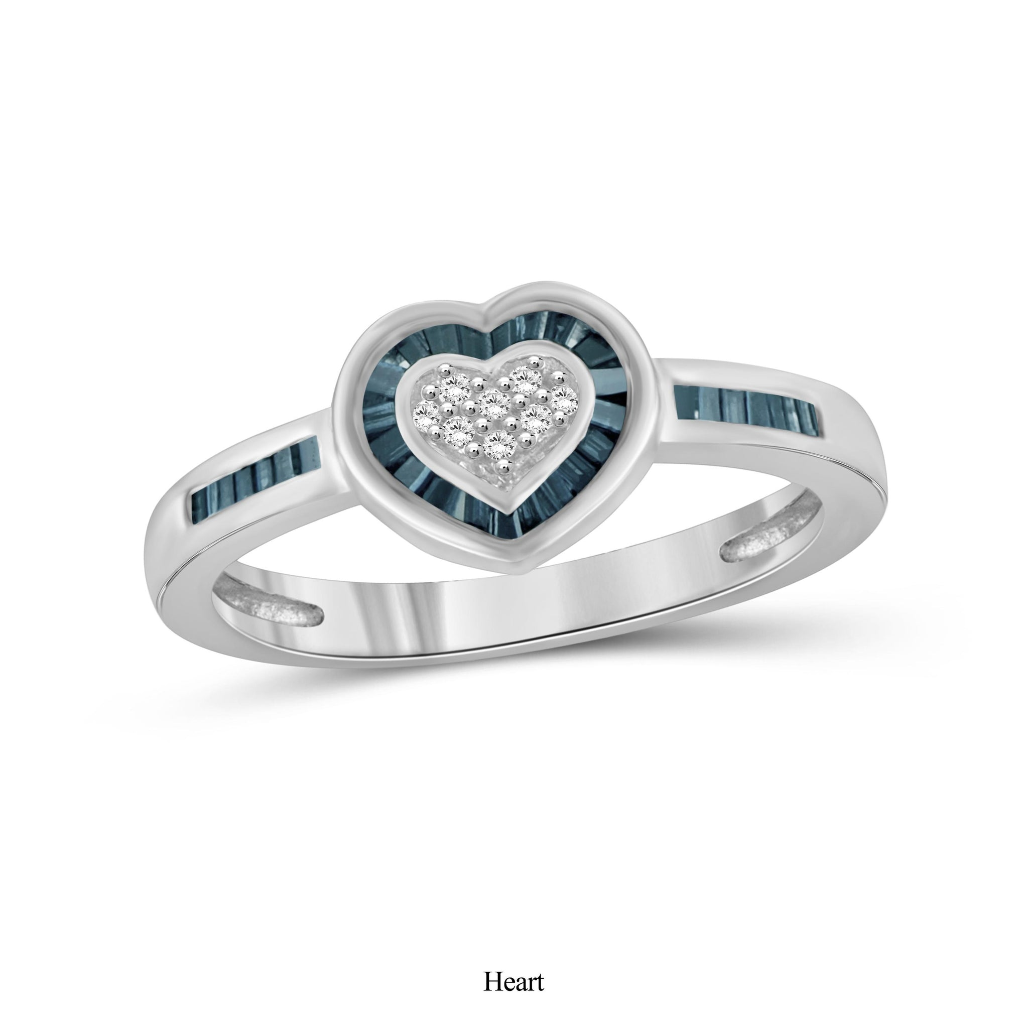 JewelersClub 1/4 Carat T.W. Blue And White Diamond Sterling Silver Heart Ring
