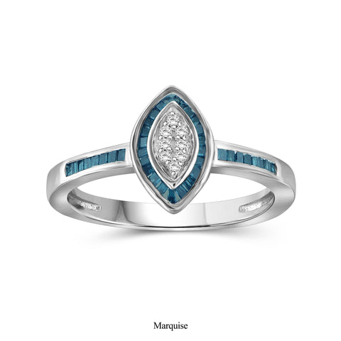 JewelonFire 1/4 Carat T.W. Blue And White Diamond Sterling Silver Marquise Shape Ring