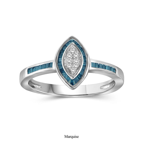 JewelersClub 1/4 Carat T.W. Blue And White Diamond Sterling Silver Marquise Shape Ring