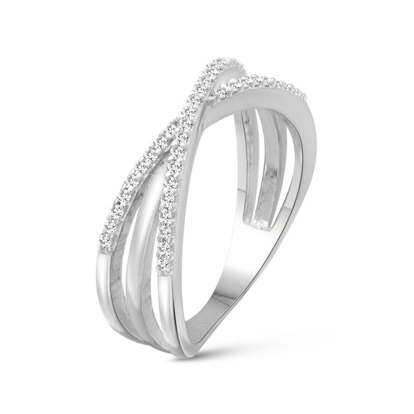 JewelersClub 1/4 Carat T.W. White Diamond Sterling Silver Crossover Ring - Assorted Colors