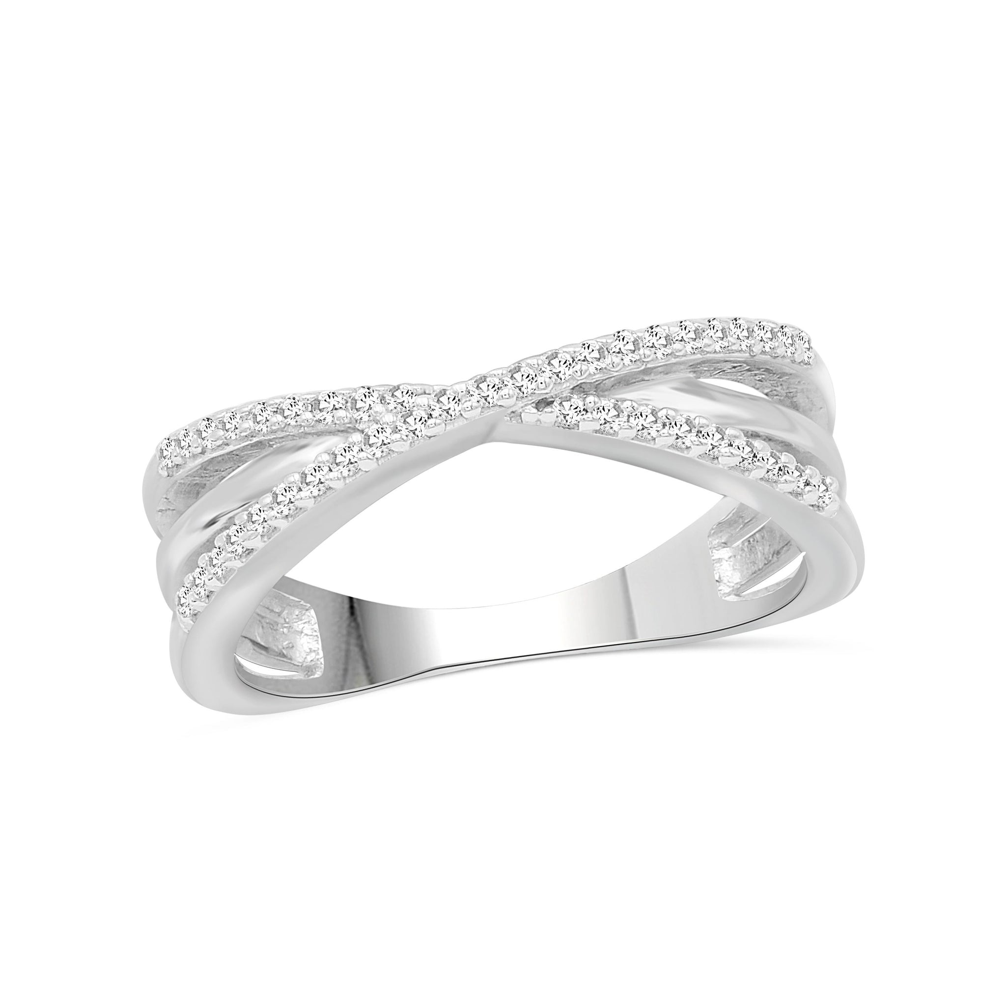 JewelonFire 1/4 Carat T.W. White Diamond Sterling Silver Crossover Ring - Assorted Colors