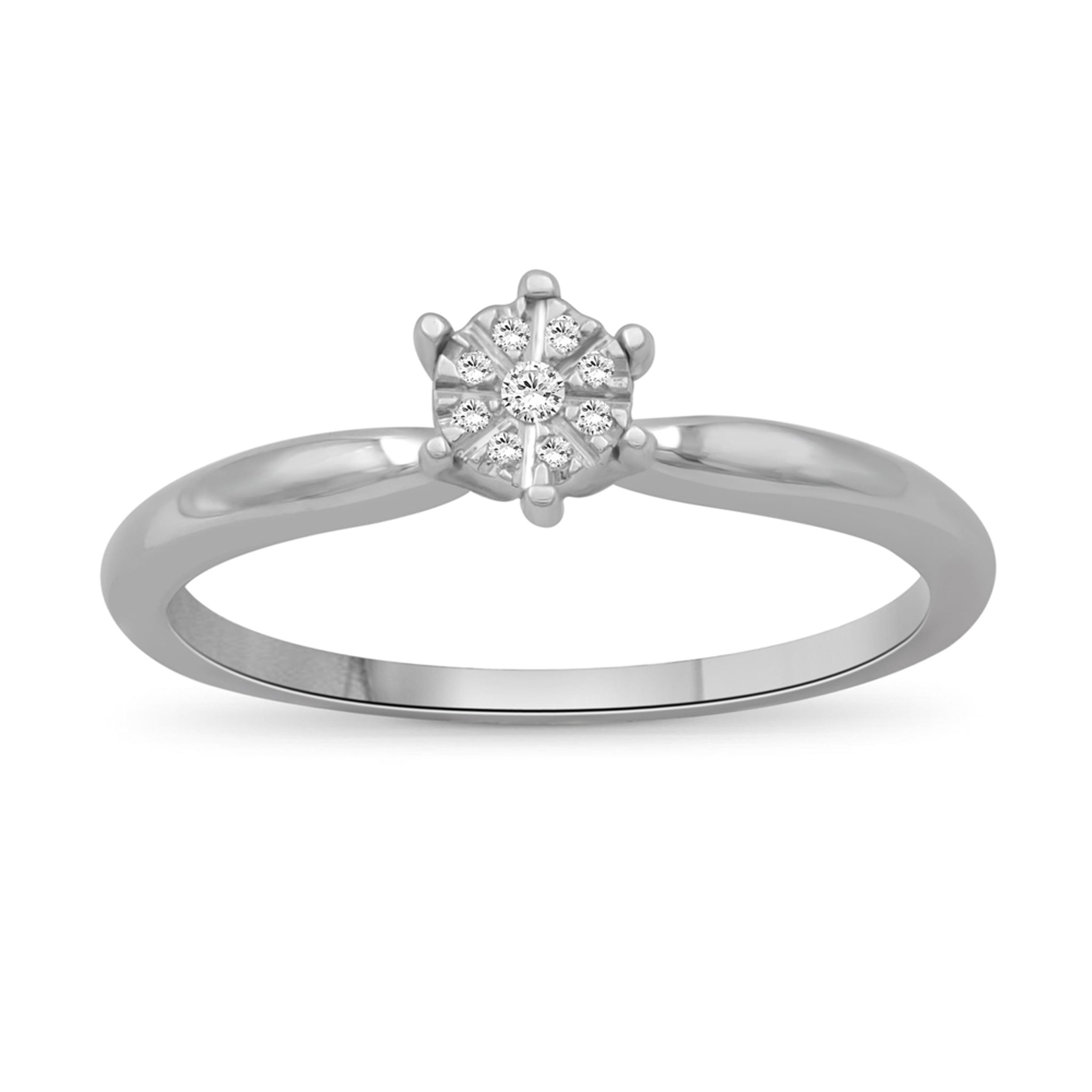 JewelonFire 1/20 Carat T.W. White Diamond Sterling Silver Cluster Ring - Assorted Colors